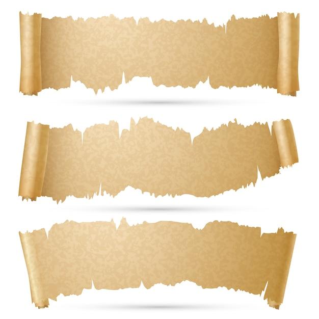 Scroll papier banner vektor festgelegt Premium Vektoren