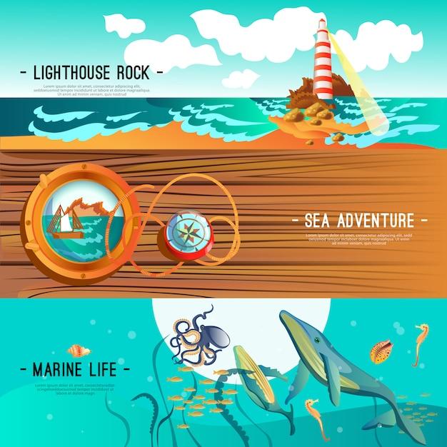 Sea nautical banner Kostenlosen Vektoren