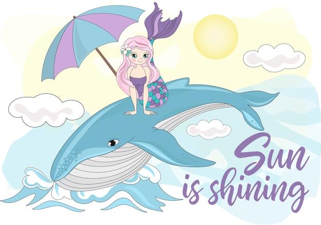 Sea travel clipart farbe vektor illustration set whale meerjungfrau Premium Vektoren