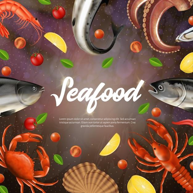 Seafood square banner mit textfreiraum, Premium Vektoren