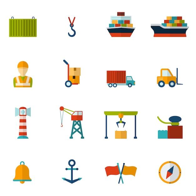 Seaport flache ikone Kostenlosen Vektoren