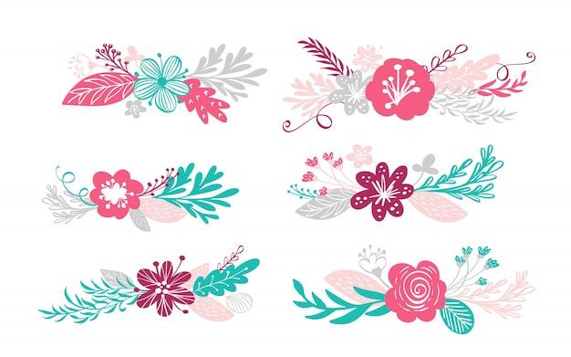 Sechs blumenstraußblumen und blumenelemente getrennt Premium Vektoren