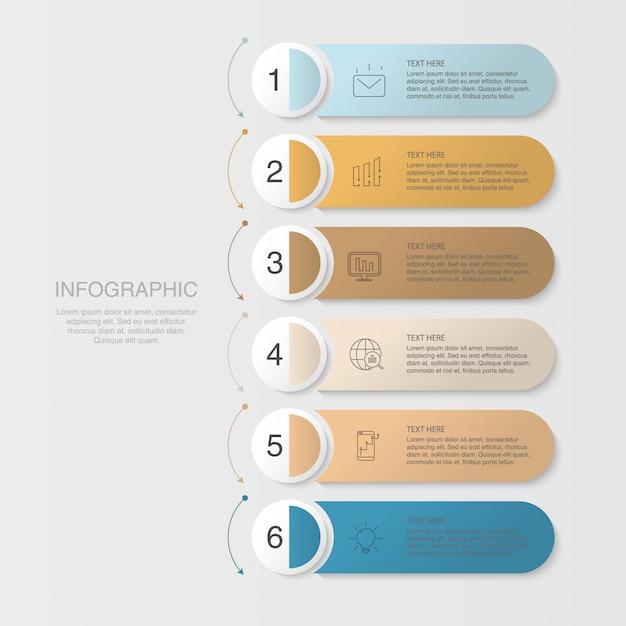 Sechs elemente infografik und icons für business-konzept. Premium Vektoren