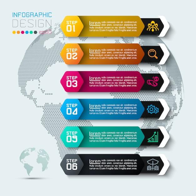 Sechs etiketten mit geschäftsikoneninfografiken. Premium Vektoren