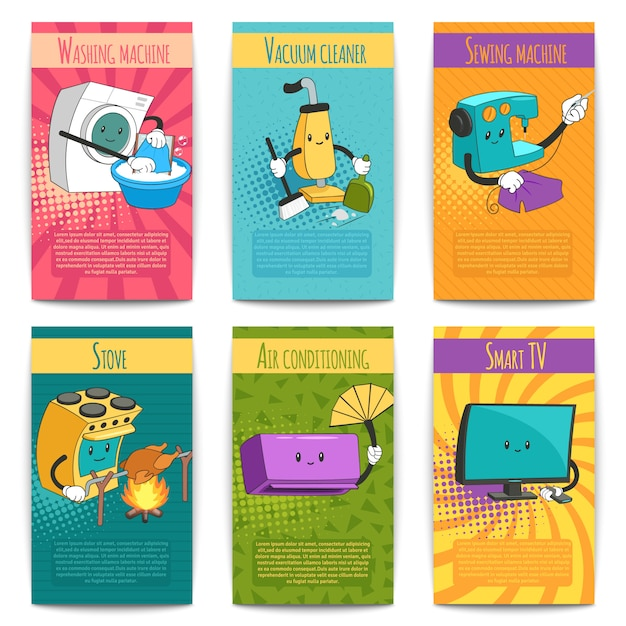 Sechs farbige comic-poster zum thema inland mit haushaltsgeräten im cartoon-stil flach Kostenlosen Vektoren