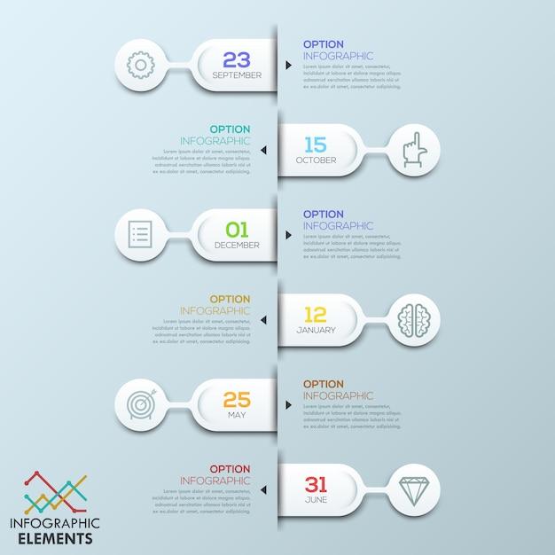 Sechs gerundete elemente verbunden mit textfeldern und piktogrammen, infografik-vorlage Premium Vektoren