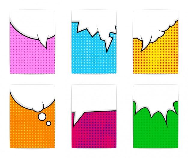 Sechs helle bunte plakatvorlagen. comic-stil. Premium Vektoren