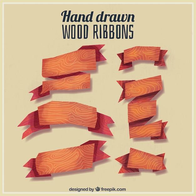 Sechs Holz Bänder von Hand bemalt   Download der kostenlosen Vektor