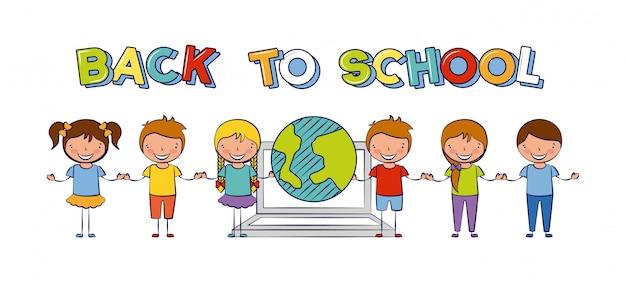 Sechs kinder zurück in die schule mit der weltillustration Kostenlosen Vektoren