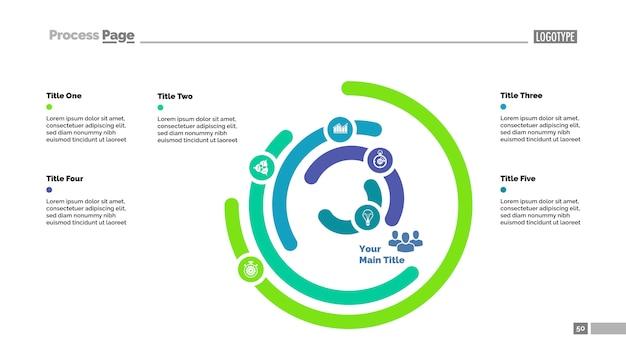 Sechs-layer-donut-diagramm folie vorlage. geschäftsdaten. grafik, diagramm Kostenlosen Vektoren