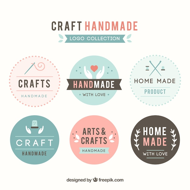 Sechs logos für das handwerk Kostenlosen Vektoren