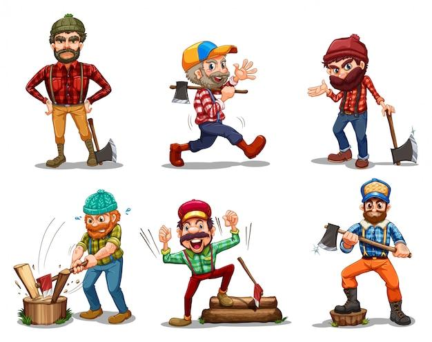 Sechs männer mit äxten Kostenlosen Vektoren