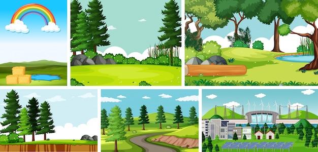 Sechs naturszenen mit unterschiedlichen orten Kostenlosen Vektoren