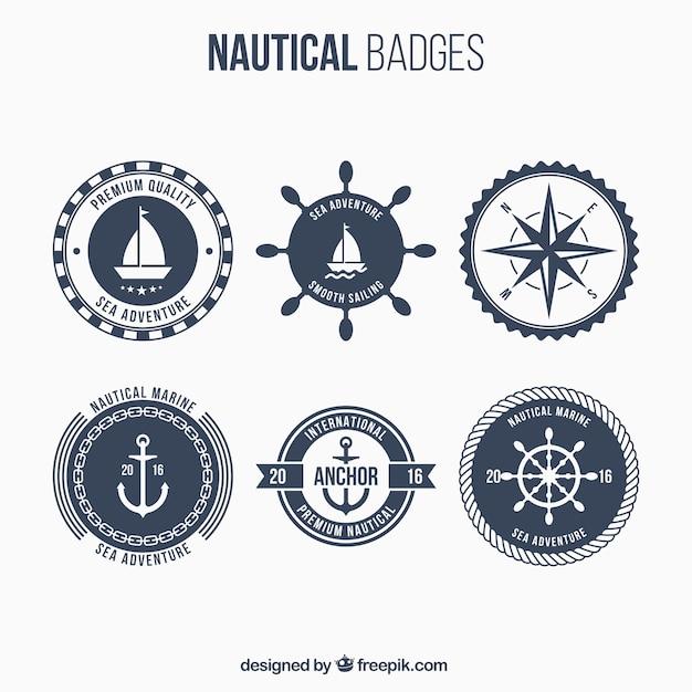 Sechs nautischen abzeichen, dunkelblau Premium Vektoren