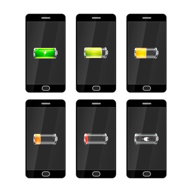 Sechs schwarze smartphones mit glänzenden batterien symbole Premium Vektoren