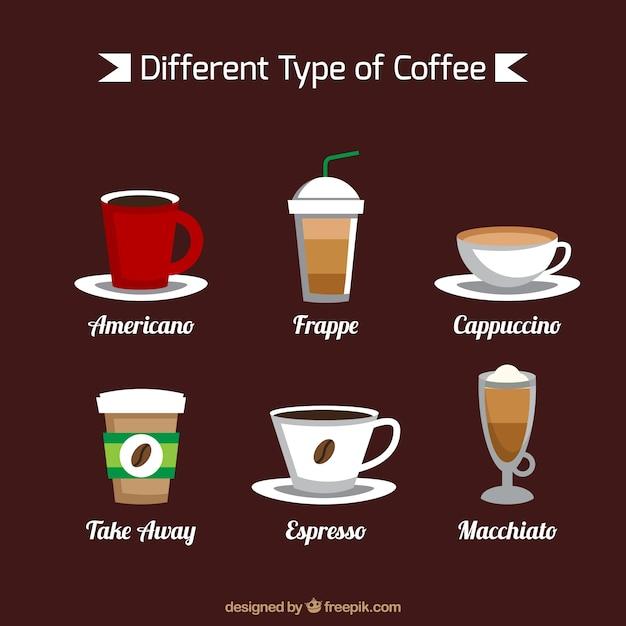 Sechs sorten von kaffee Kostenlosen Vektoren
