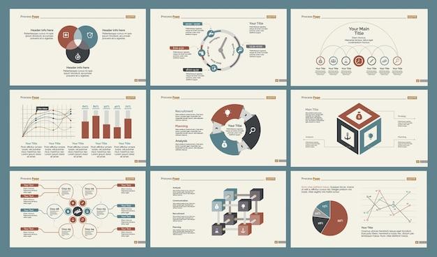 Sechs statistik folienvorlagen gesetzt Kostenlosen Vektoren