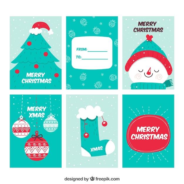 Weihnachtskarten Beschriften Kostenlos.Sechs Süße Weihnachtskarten Download Der Kostenlosen Vektor