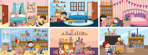 Sechs szenen mit kindern, die in verschiedenen räumen spielen Kostenlosen Vektoren