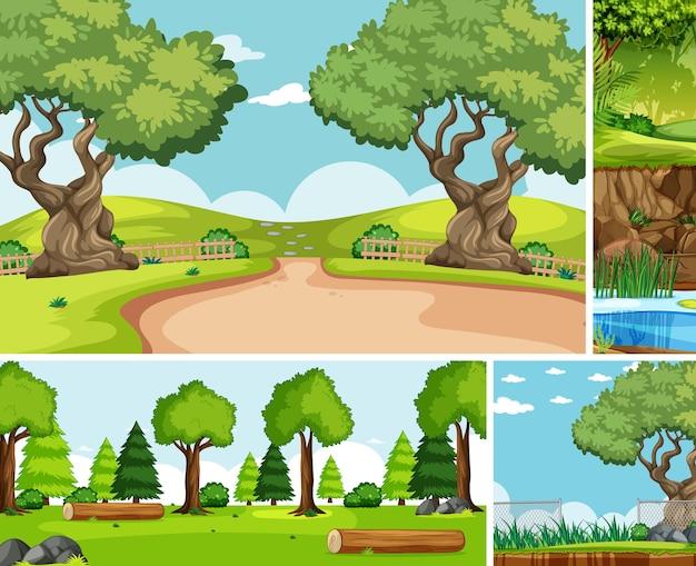 Sechs verschiedene szenen im cartoon-stil der natur Kostenlosen Vektoren