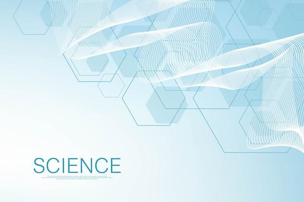 Sechseck abstrakter hintergrund mit geometrischen formen. wissenschaft, technologie und medizinisches konzept. futuristischer hintergrund im wissenschaftsstil. grafischer hex-hintergrund für ihr design. illustration Premium Vektoren