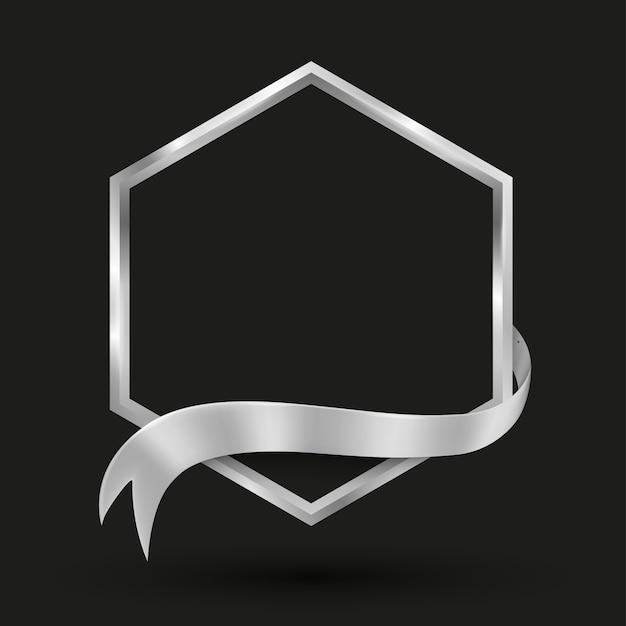Sechseck-banner mit silberband-vektorillustration für werbe- und präsentationshintergrund Premium Vektoren