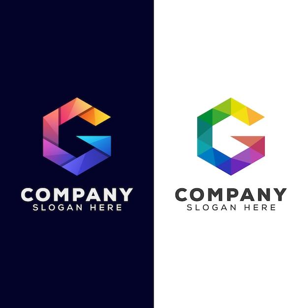 Sechseck buchstabe g farbverlauf logo kombination farbvektor vorlage Premium Vektoren