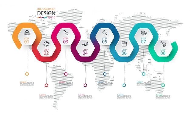Sechseck-etikett mit farbigen linien verknüpften infografiken. Premium Vektoren