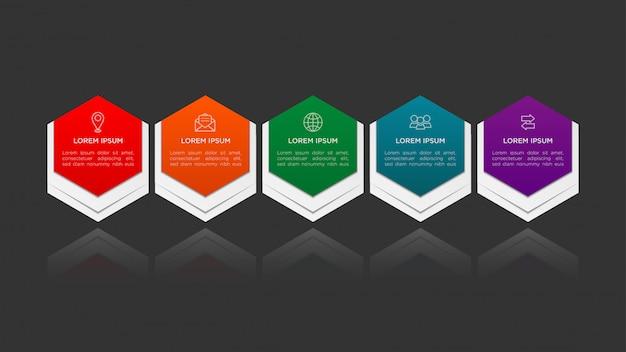 Sechseck infografik design mit farbverlauf und papier schatteneffekt 5 optionen oder schritte. infografiken geschäftskonzept. Premium Vektoren