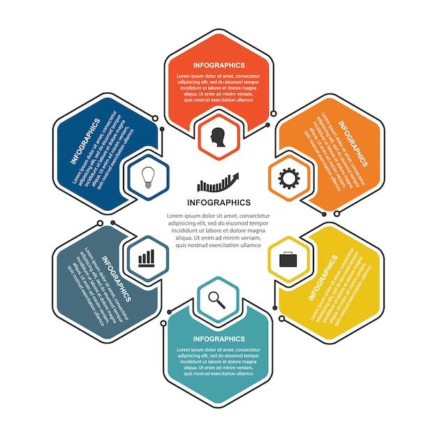 Sechseck optionen infografiken vorlage. Premium Vektoren