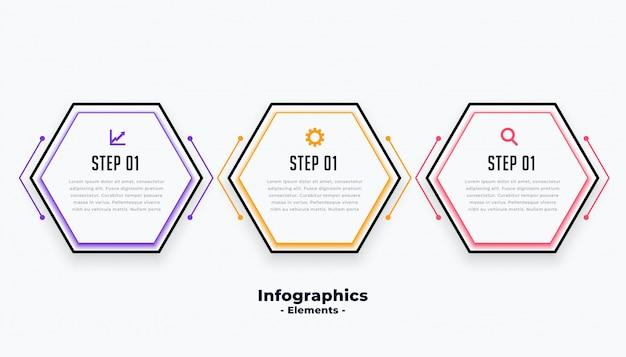 Sechseckige form drei schritte moderne inforaphische schablone Kostenlosen Vektoren