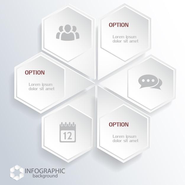 Sechseckige geschäftsinfografiken mit leichten webelementen und symbolen Kostenlosen Vektoren