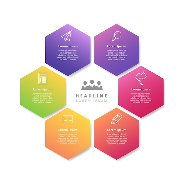 Sechseckige infografik banner vorlage mit farbverlauf Kostenlosen Vektoren