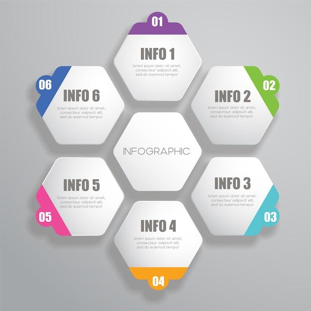 Sechseckige Infografik-Design-Vorlage | Download der Premium Vektor