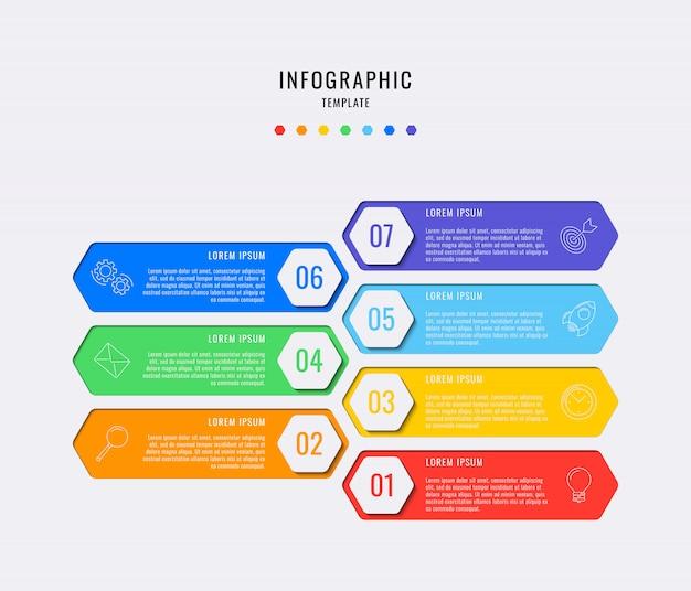 Sechseckige infografik-elemente mit sieben schritten, optionen, teilen oder prozessen mit textfeldern. vektordatenvisualisierung für workflow Premium Vektoren