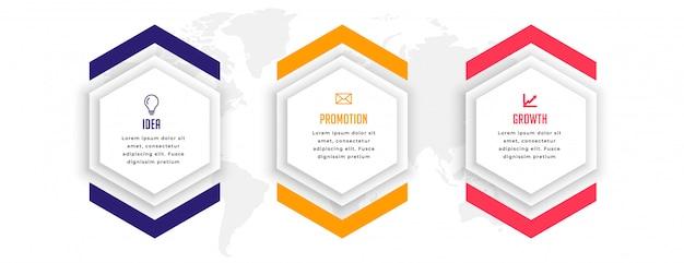 Sechseckiges infografik-schablonendesign in drei schritten Kostenlosen Vektoren