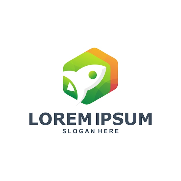 Sechseckiges raketen-logo Premium Vektoren