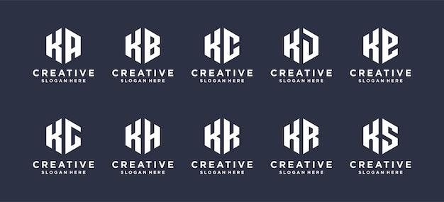 Sechskantform buchstabe k kombiniert mit anderen abstrakten logo-designs. Premium Vektoren