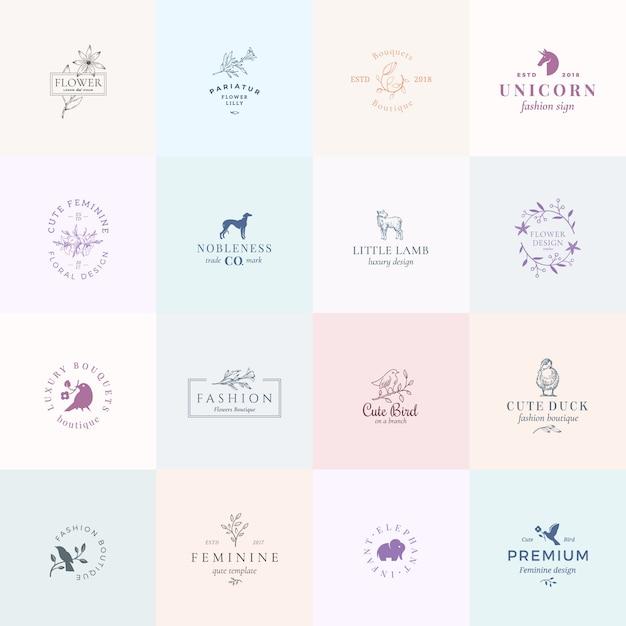 Sechzehn abstrakte weibliche zeichen oder logo-vorlagen gesetzt. retro blumenillustration mit klassischer typografie, vögeln, lamm, ente, hund, einhorn und elefant. embleme in premiumqualität. Premium Vektoren