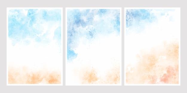 Seeblauer himmel und sand setzen aquarellhintergrund für hochzeitseinladungskarten-schablonensammlung 5x7 auf den strand Premium Vektoren