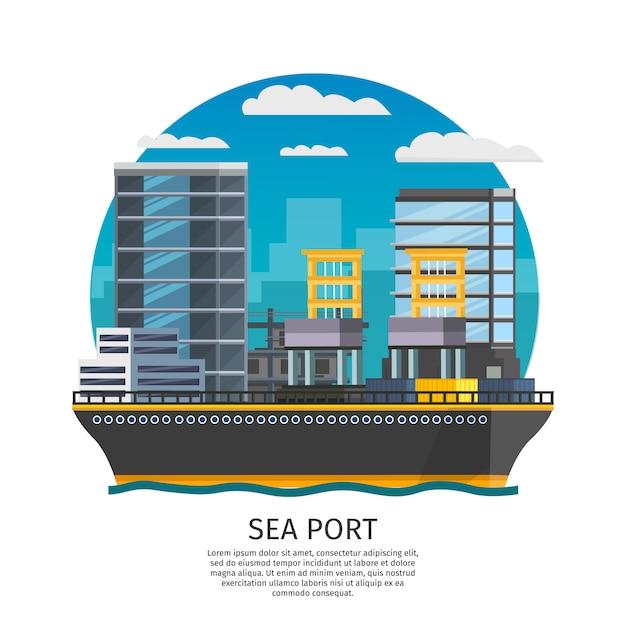Seehafen design Kostenlosen Vektoren