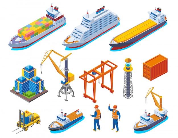 Seehafen farbige isometrische ikone mit isolierten booten kräne schiffe und arbeiter illustration gesetzt Kostenlosen Vektoren