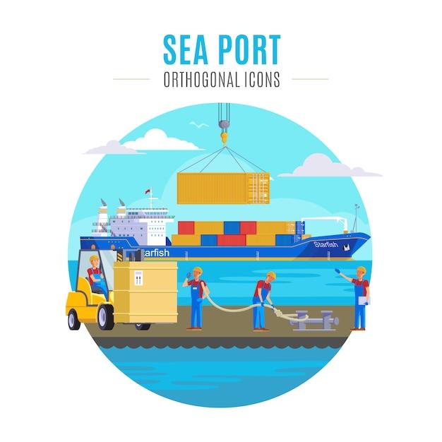 Seehafen illustration Kostenlosen Vektoren