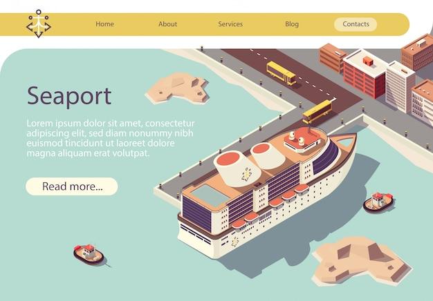 Seehafen-isometrische text-fahne mit ozeandampfer Premium Vektoren