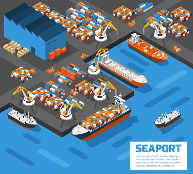 Seehafen-isometrisches luftaufnahme-plakat Kostenlosen Vektoren