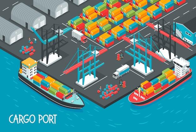 Seehafen mit den frachtschiffen voll von der isometrischen illustration der kästen und der behälter Kostenlosen Vektoren