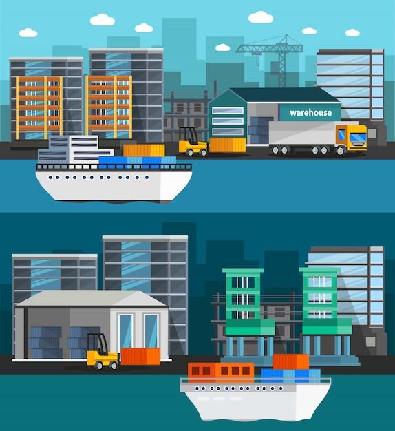 Seehafen orthogonale illustration Kostenlosen Vektoren