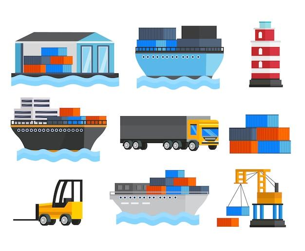 Seehafen orthogonales set Kostenlosen Vektoren
