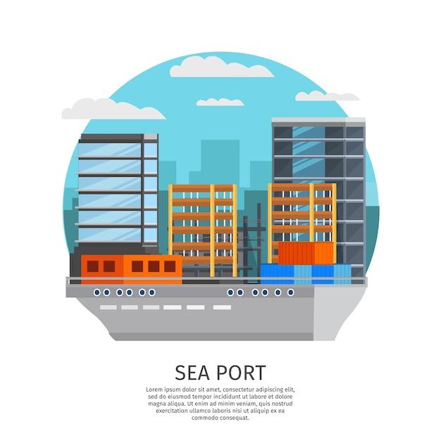 Seehafen rundes design Kostenlosen Vektoren