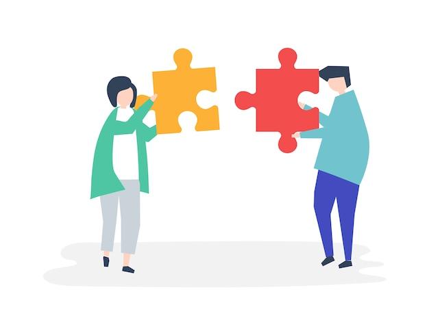 Seelenverwandte verbinden puzzleteile miteinander Kostenlosen Vektoren